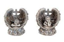 Engel grau in Flügel mit Kreuz h=9,5cm