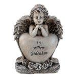 """Engel grau mit Herz """"In stillem"""