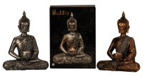 Buddha mit Teelichthalter h=26,5cm sort.