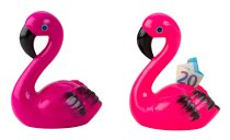 Flamingo-Spardose h=19cm b=14,5cm sort.