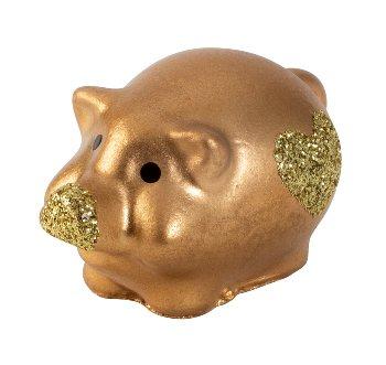 Schwein gold mit Glitzerherz l=4,5cm