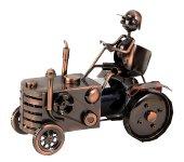 Metal wine-bottleholder 'tractor' h=25cm