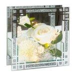Glasdeko mit Blumen und LED h=18cm