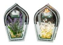 Glasdeko mit Blumen & LED-Licht f.