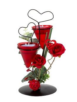 Metalldeko Herz mit roten Rosen für