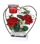 Metalldeko mit roten Rosen und LED-Licht