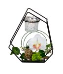 Metal decoration with white orchid and