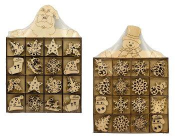Xmas-Holz-Deko z.Hängen d=4cm sort. in