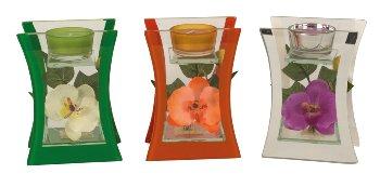 Glasdeko mit Orchidee für Teelicht