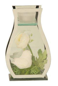 Glasdeko mit weißem Vogel & Rose h=21cm