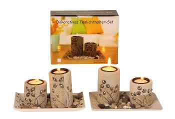 Teelichthalter-Set m.Deko-Steinen h=10cm