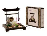 Buddhaset Zen Garden silber für Teelicht