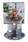 Teelichthalter-Set mit runder Platte &