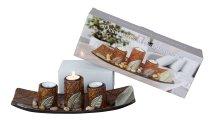 Teelichthalter-Set mit Blatt-Deko