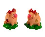 Lucky pigs on lucky leaf h=3,5cm asst.