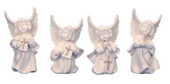 Engel weiß mit Glitzerkreuz h=9,5-10,5cm