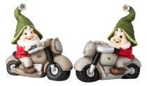 Dwarf on motorbike with green