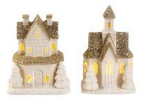 House porcelain+golden glitter w. LED