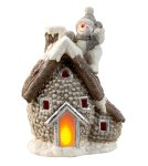 Cone house with snowman w. flickering