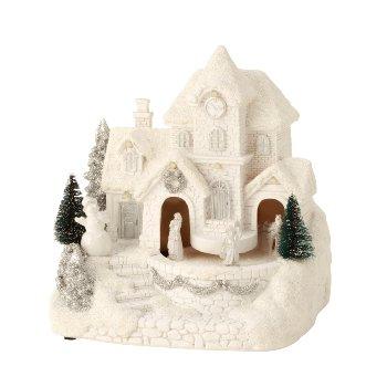 Winterhaus mit Karussel mit LED h=19cm