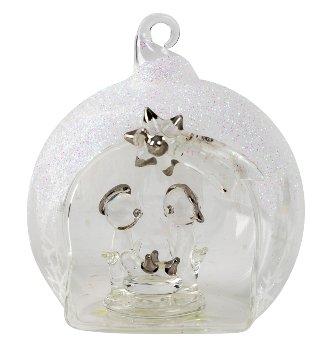 Glaskugel mit Krippe zum Hängen h=9cm
