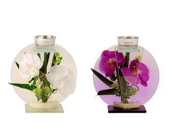 Glasdekoration mit Orchidee in