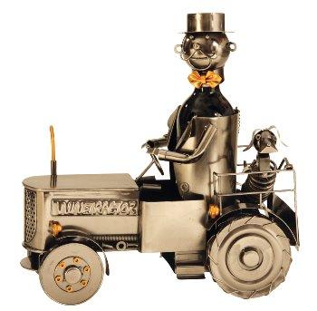 Wein-Flaschenhalter 'Traktor' h=35,5cm