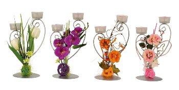 Teelichthalter mit Blumendeko h=28cm
