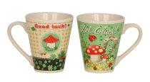 Cup 'luck' h=10cm d=8,8cm assort.