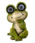 Frosch sitzend mit Solarlicht h=35cm