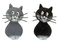 Katzen stehend grau und schwarz klein