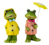 Frosch stehend mit Mantel & Regenschirm