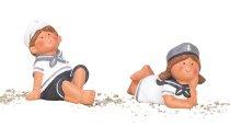 Navy kids boy & girl sitting and lying