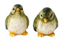 Vögel grün sitzend h=12+13cm sort.