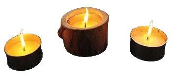 Holz-Kerzenhalter mit Zitronella-Kerze,