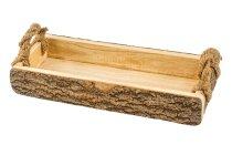 Holz-Tablett mit Rinde + Griffen ca.