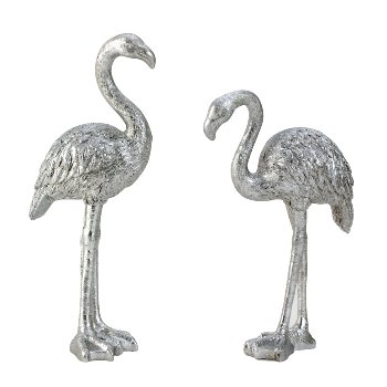 Flamingo silber glitzer h=20-24cm sort.