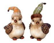 Vögel mit Stoffzipfelmütze h=16cm sort.