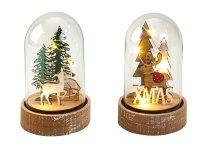 Weihnachtsdeko in Glas mit LED h=13cm