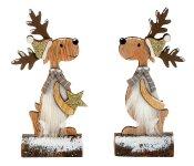 Weihnachts-Hirsch auf Holzstamm h=17,5cm
