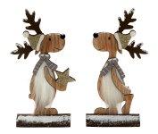 Weihnachts-Hirsch auf Holzstamm h=24cm
