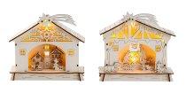 Holzhaus mit Weihnachtsdeko h=17cm