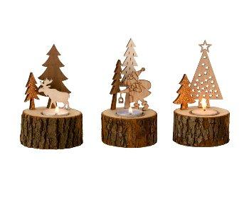 Holzteelichthalter h=14-15cm d=8,5cm