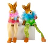 Rabbit with softlegs & egg pink & green