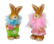 Rabbit standig with egg pink & green