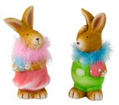 Rabbit standig with egg & feather scarf