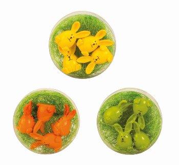 Ostereierhasen in PVC-Box gelb, grün,