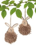 Wooden easter rabbit with fuzzy body for