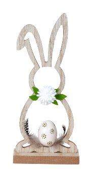 Holz-Osterhasen Silhouette mit Ei &