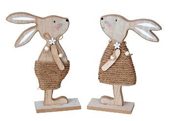 Holz-Osterhase mit Jute-Kleider zum
